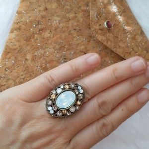 Anthropologie Opalscent Paved Ring Vintage One Sz